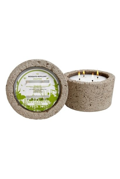 eucalyptus mint mosquito candle in hyertufa pot
