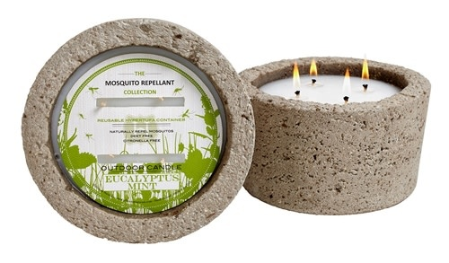 eucalyptus mint mosquito candle in hyertufa pot-1
