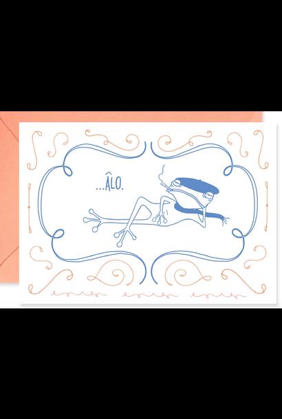 francois le frog says ''alo'' blank card