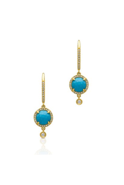 Yellow Gold Diamond Turquoise Kennedy Wireback Earrings