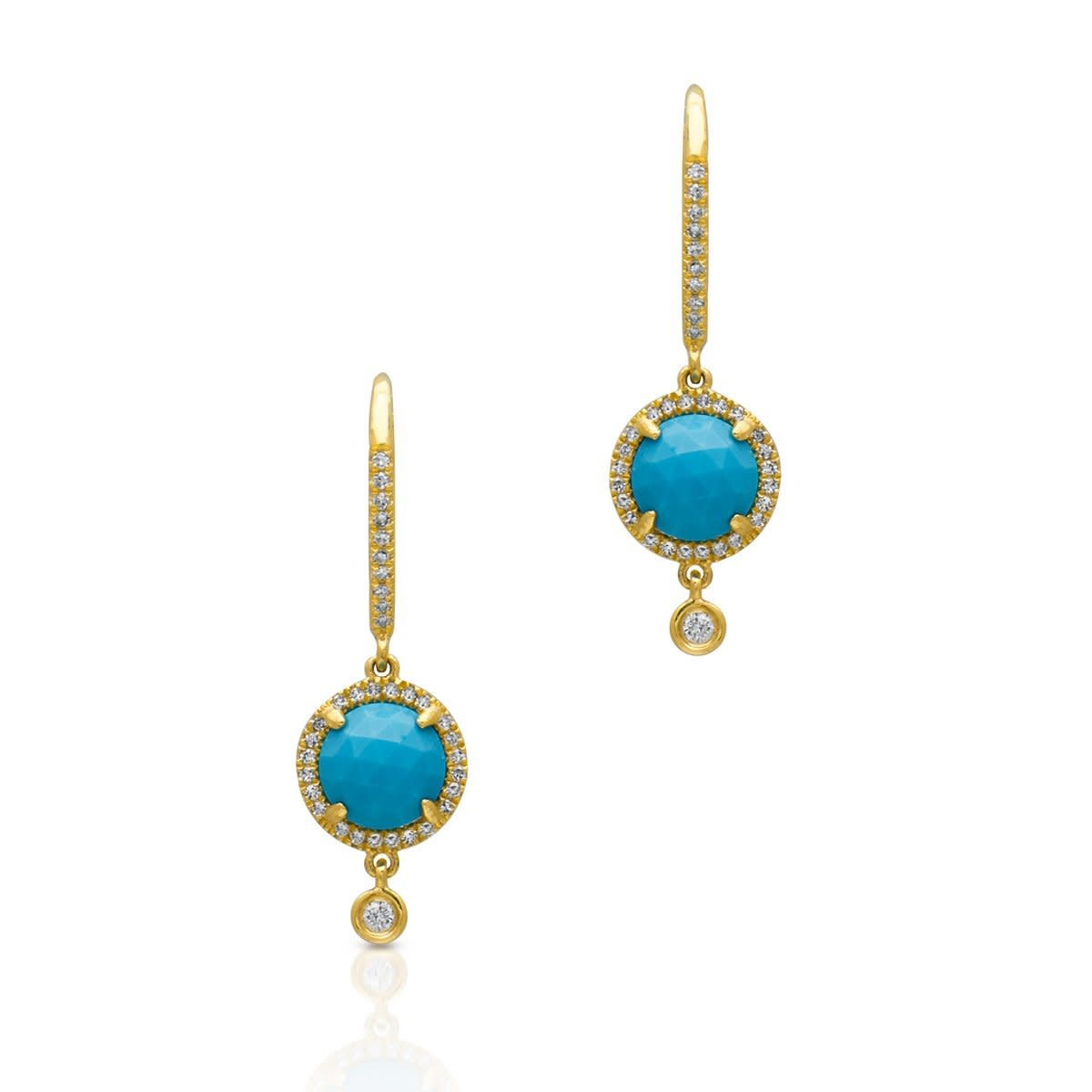 Yellow Gold Diamond Turquoise Kennedy Wireback Earrings-1