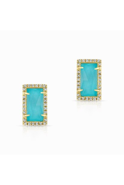 14kt Yellow gold diamond turquoise sara stud earrings