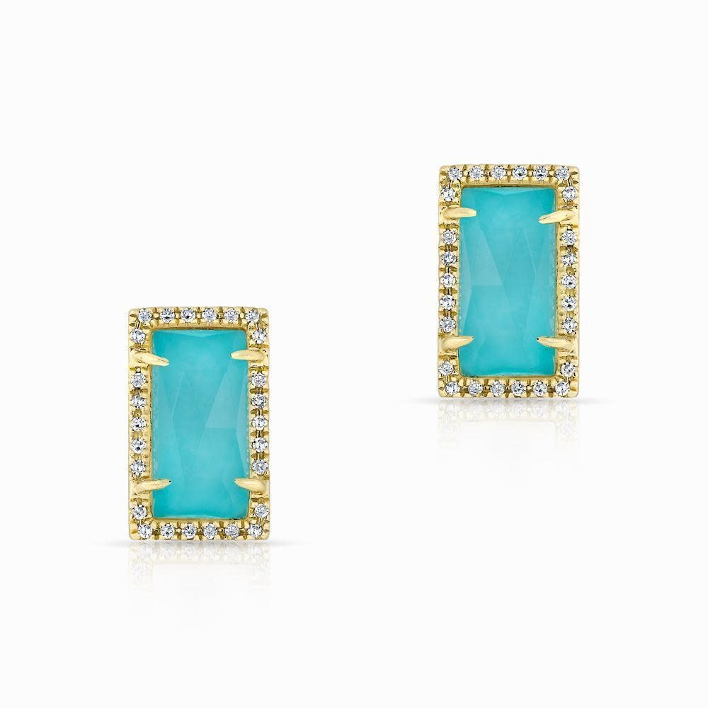 14kt Yellow gold diamond turquoise sara stud earrings-1
