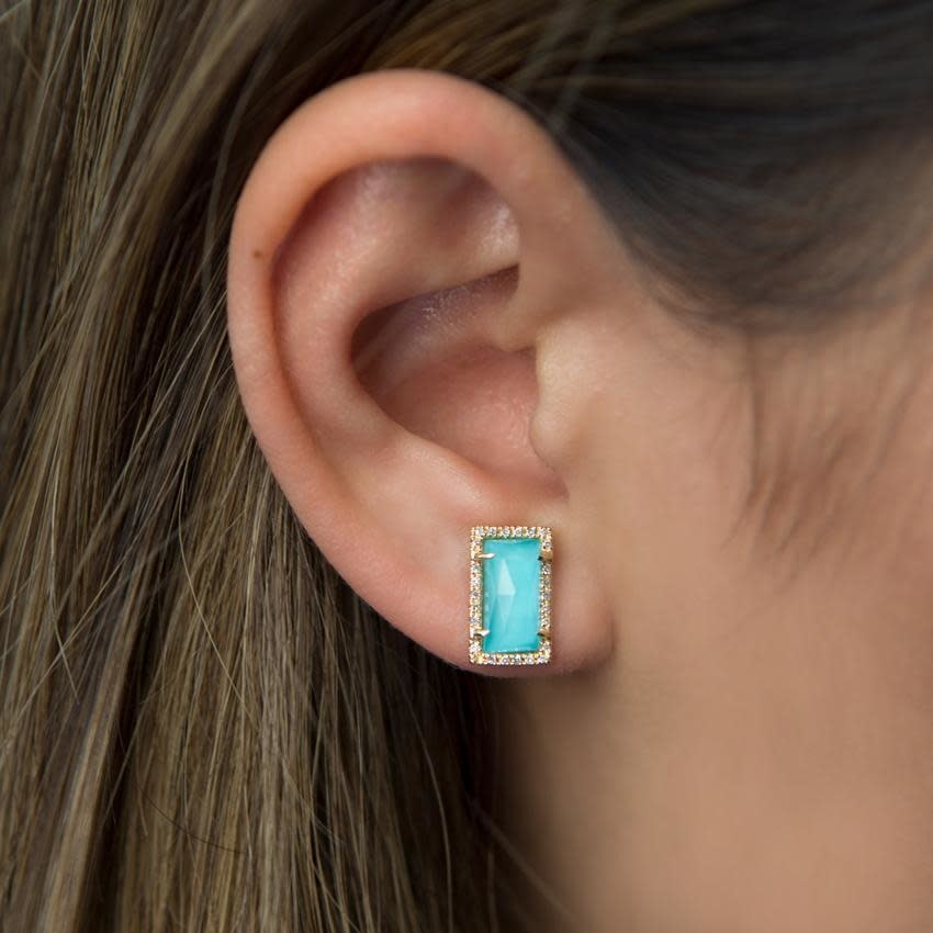 14kt Yellow gold diamond turquoise sara stud earrings-2