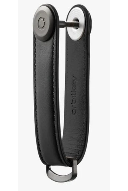 black/black leather key ring w/ extension post