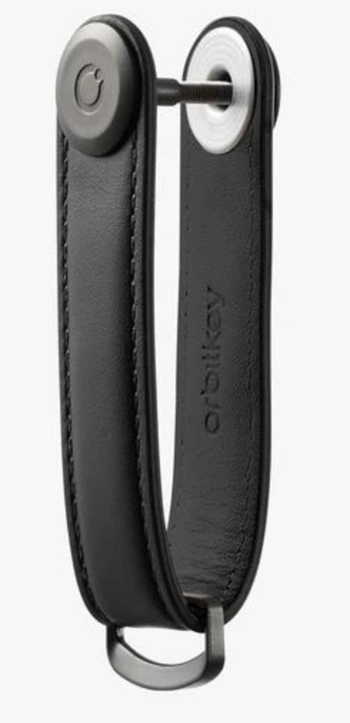black/black leather key ring w/ extension post-2