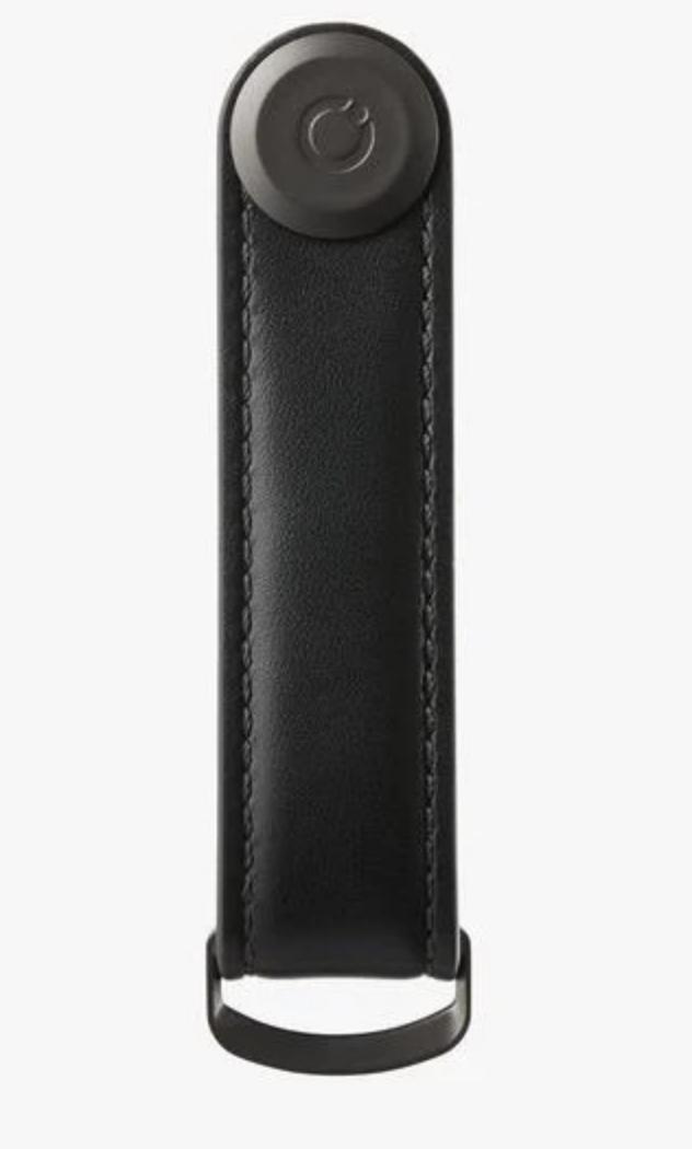 black/black leather key ring w/ extension post-3