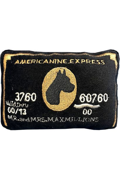 bark amex card dog toy