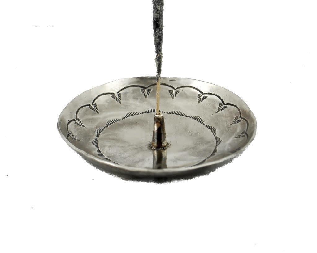 stamped round incense holder-1