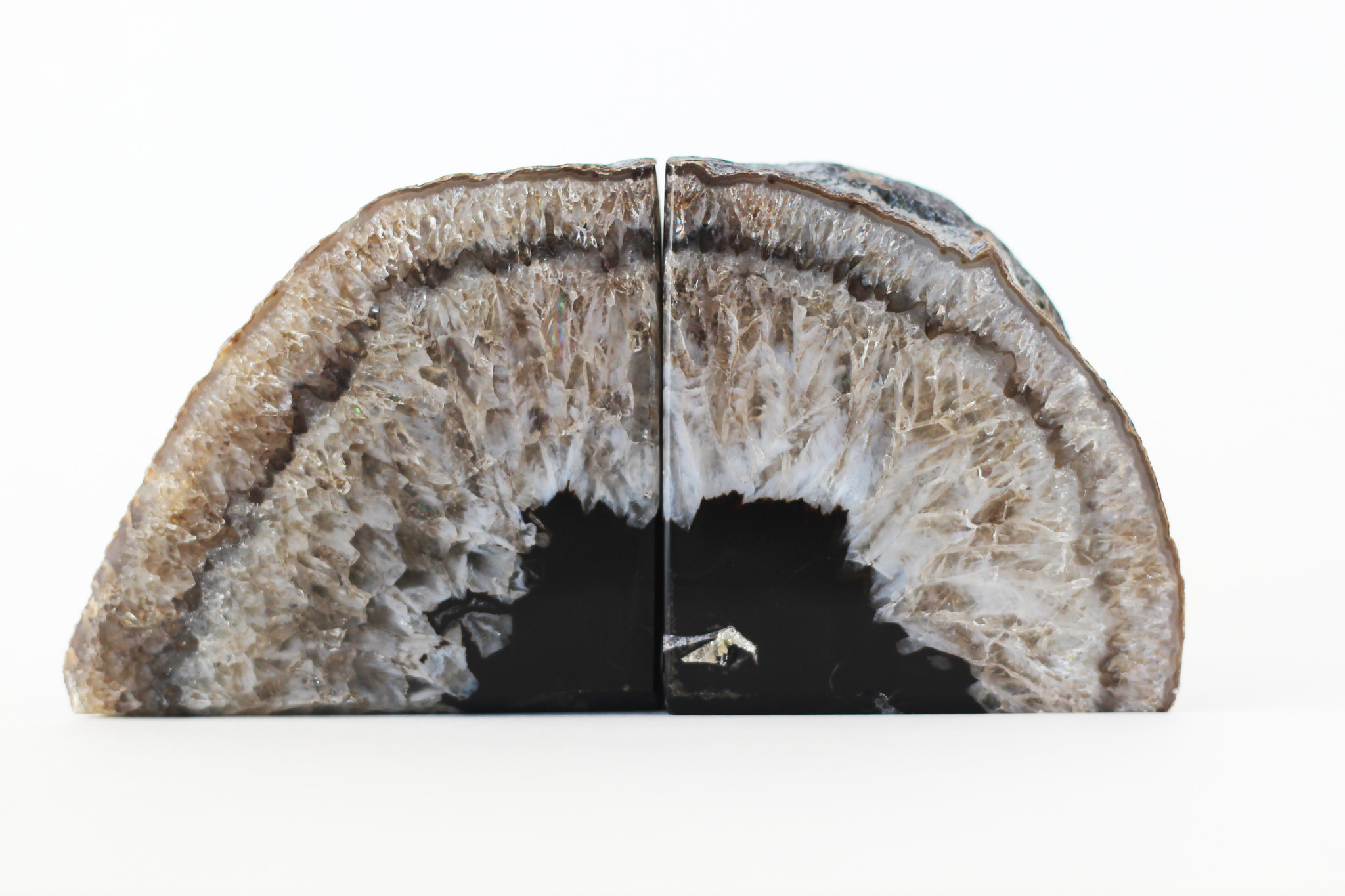 natural agate geode book ends-1