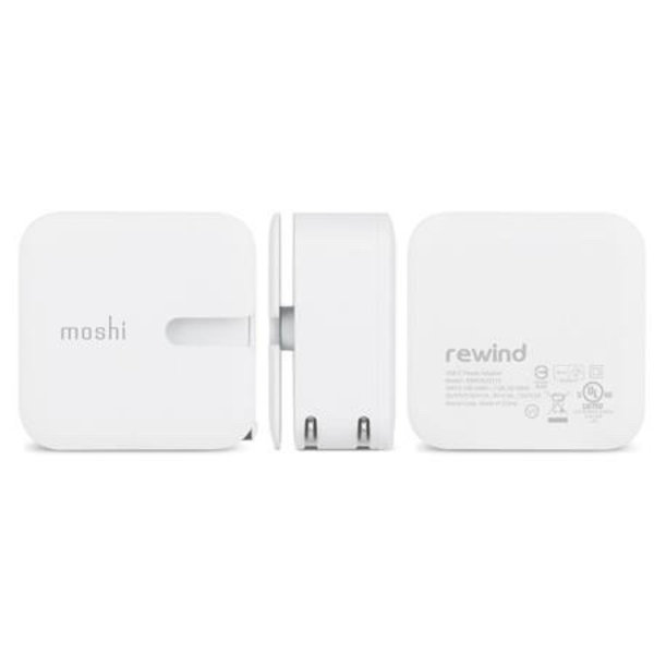 Moshi Moshi Wall Charging Kit with Rewind & USB to Lightning Cable