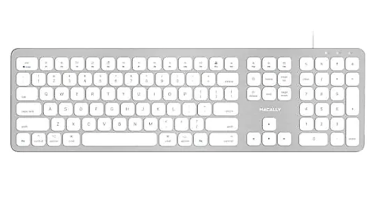 Macally Space Gray Ultra Slim USB Wired keyboard