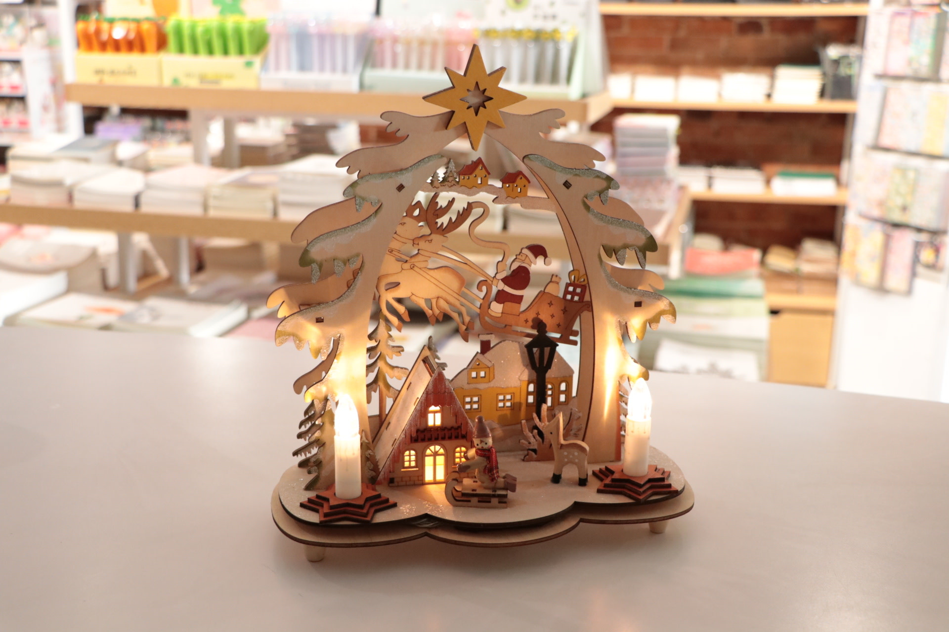 12x9 Laser Cut Light Up Santa/Deer Scene