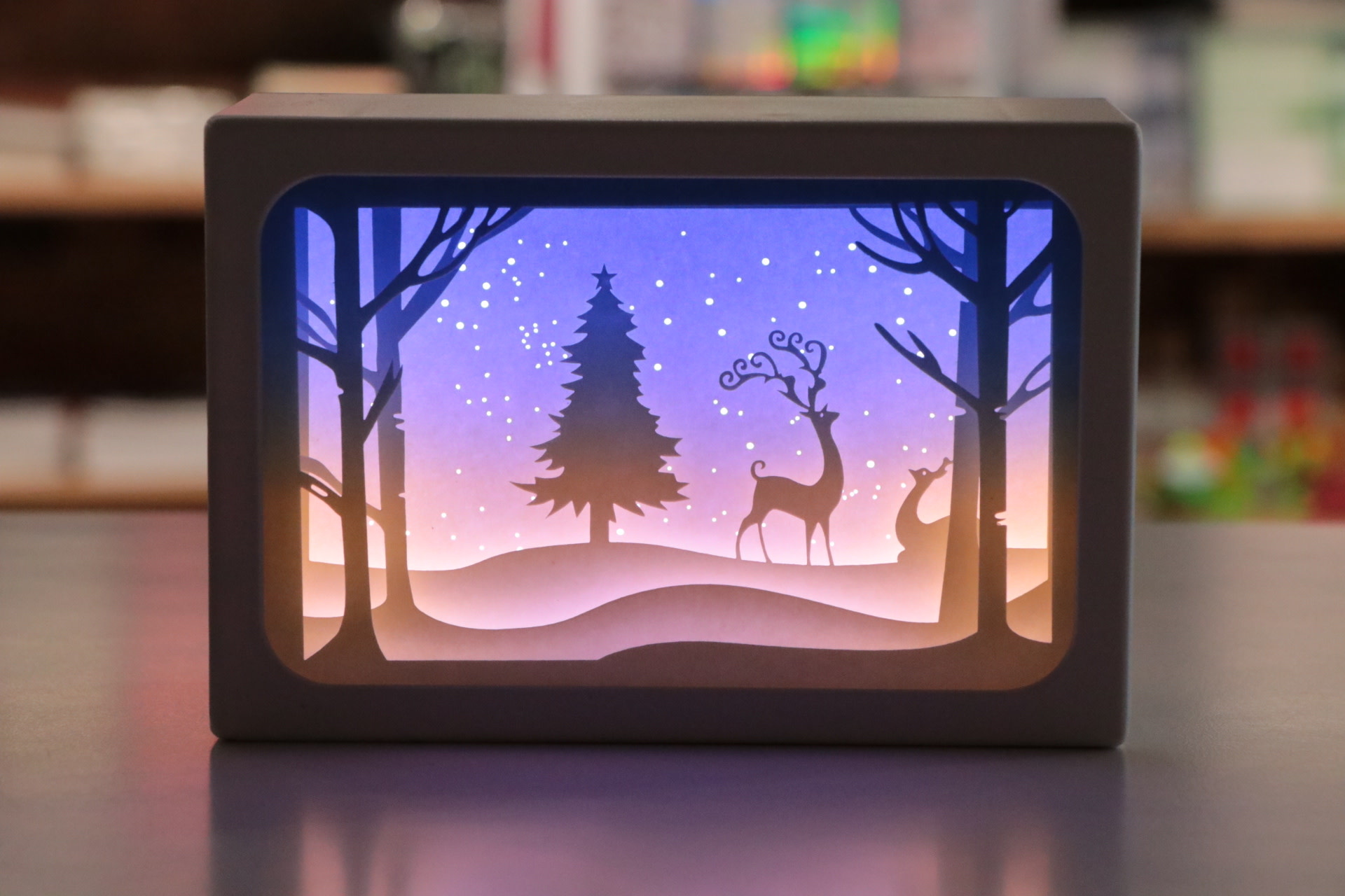 6X4 Blue LED Frame W/Tree/Deer