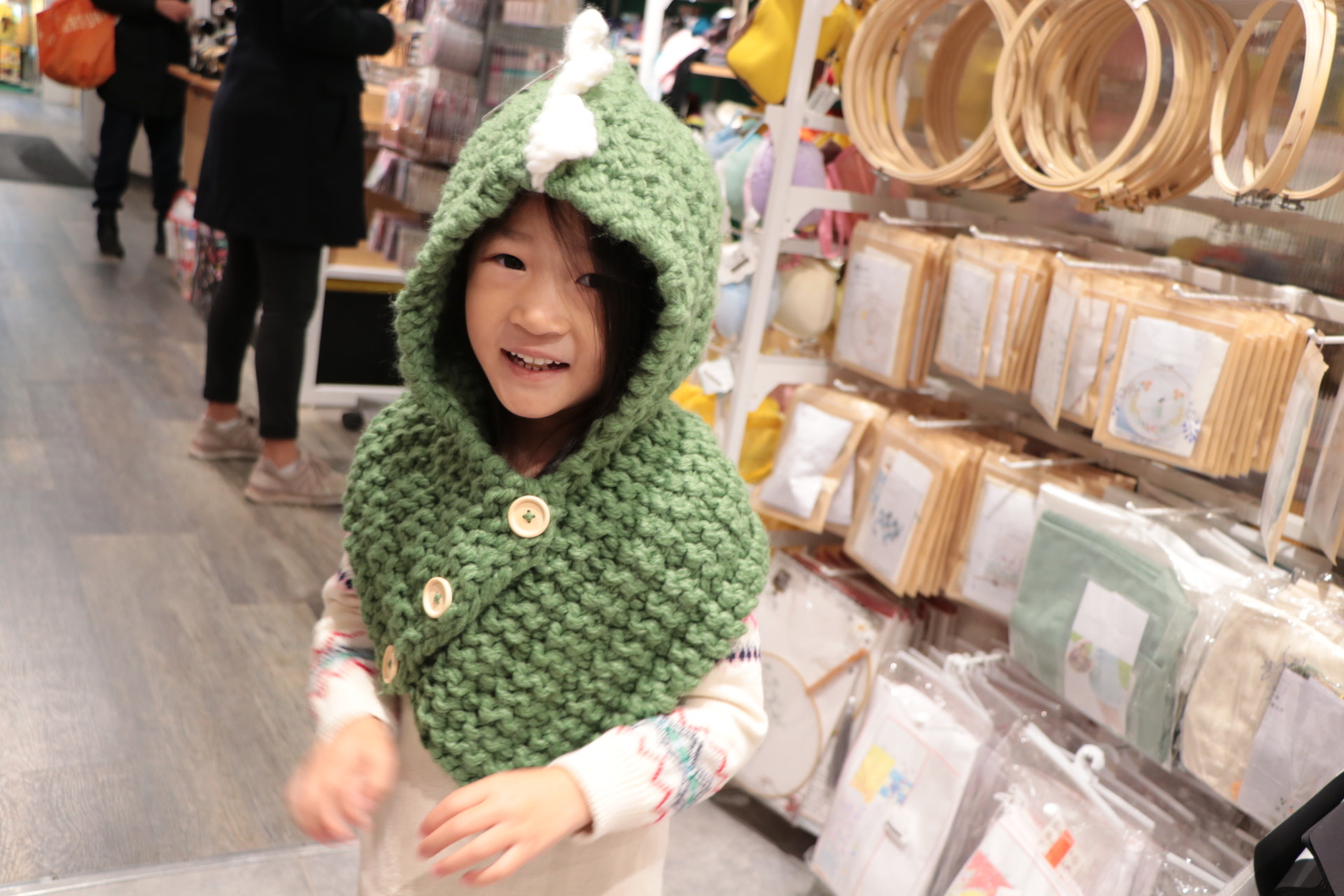 Dinosuar Hat with Scarf Green