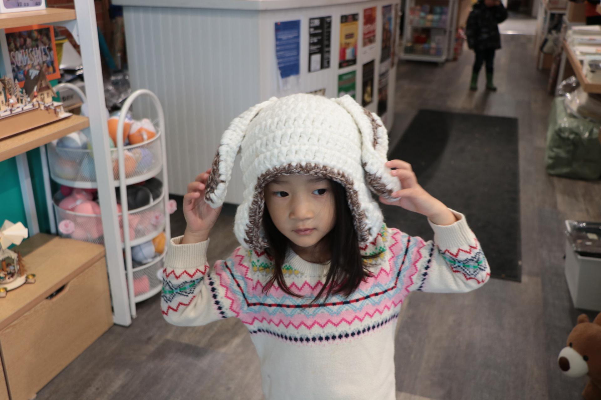 Rabbit Ear Knit Hat White