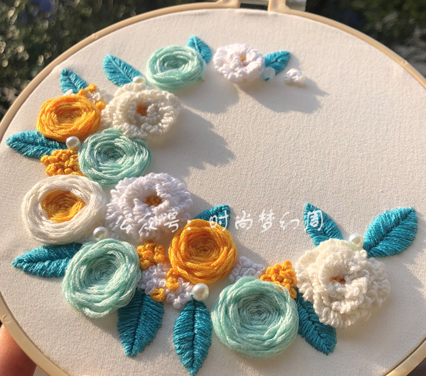 750756985 Blue and Orange Flower Embroidery
