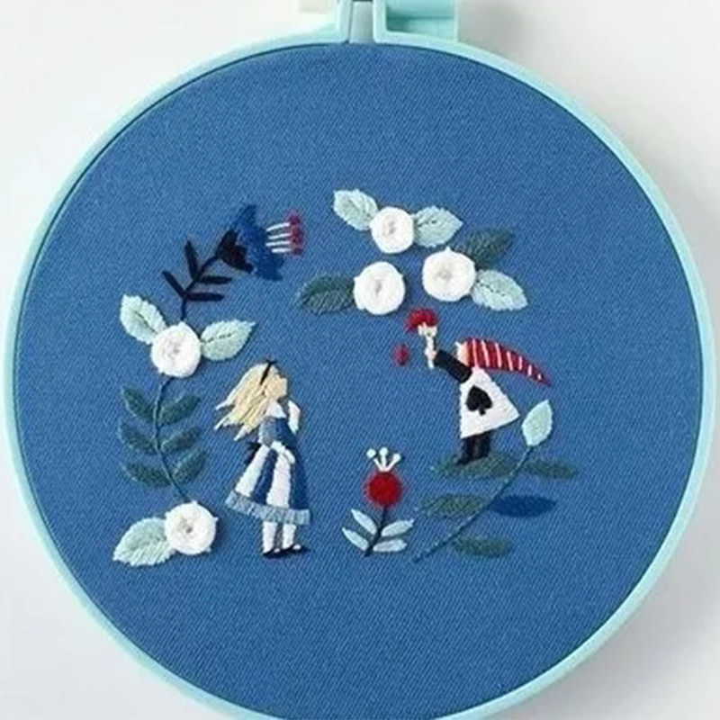 103042050 Girl in Blue Field Embroidery