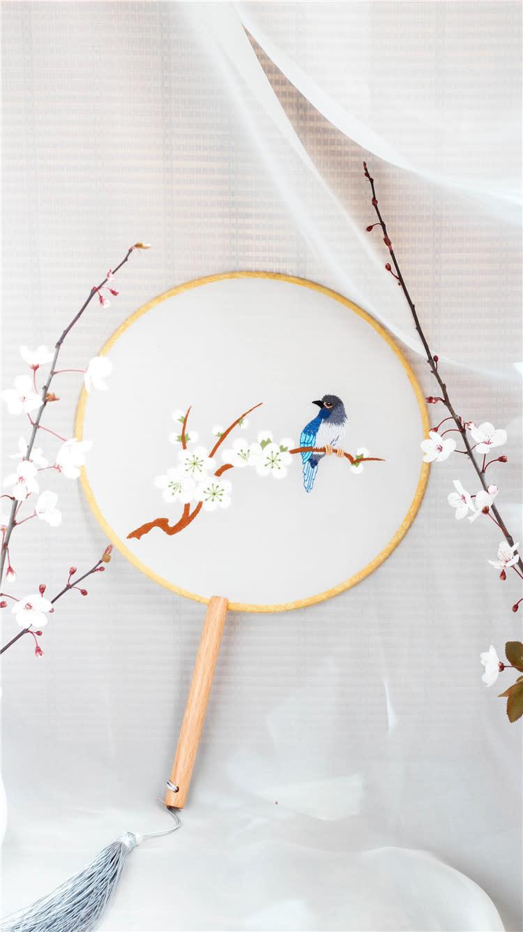 GY306 Blue Bird DIY Round Fan Embroidery