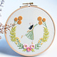 Girl Chasing Flowers DIY Embroidery 22cm