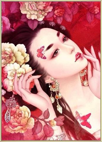 HX1027-01 Chinese Princess DIY Dot Painting 40*55cm