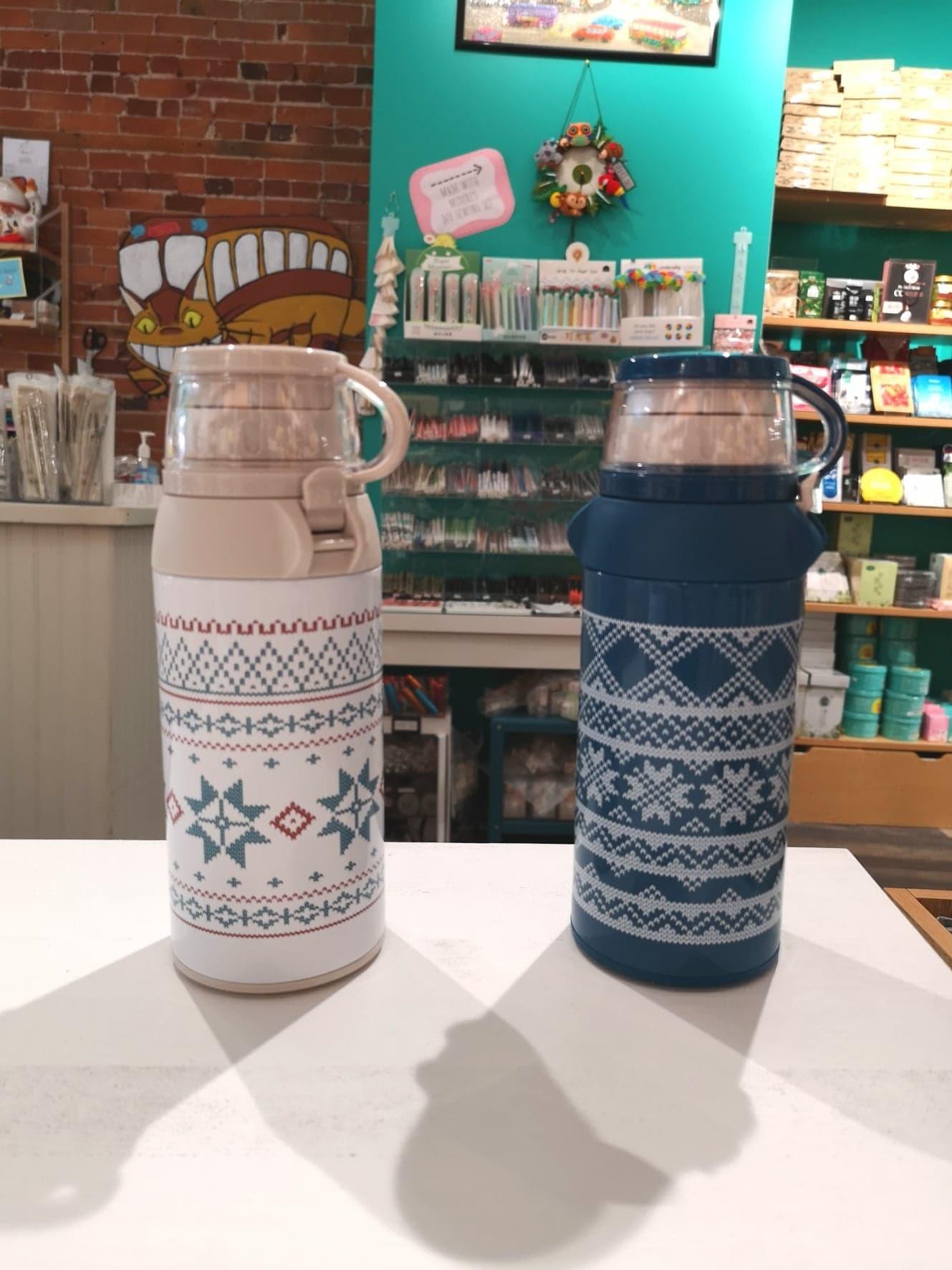 Winter Cross Stitch Thermal Water Bottle Blue