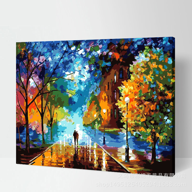 Walking on Street Colorful Trees DIY Painting
