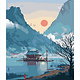 Japanese House by Mountain and Lake DIY Painting