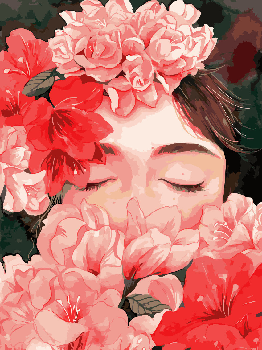 Girl with Red Flowers DIY Painting