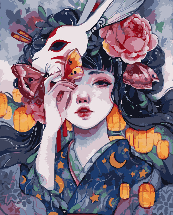 Japanese Girl with Fox Mask DIY Painting