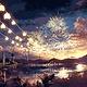 Sunset Fireworks DIY Painting