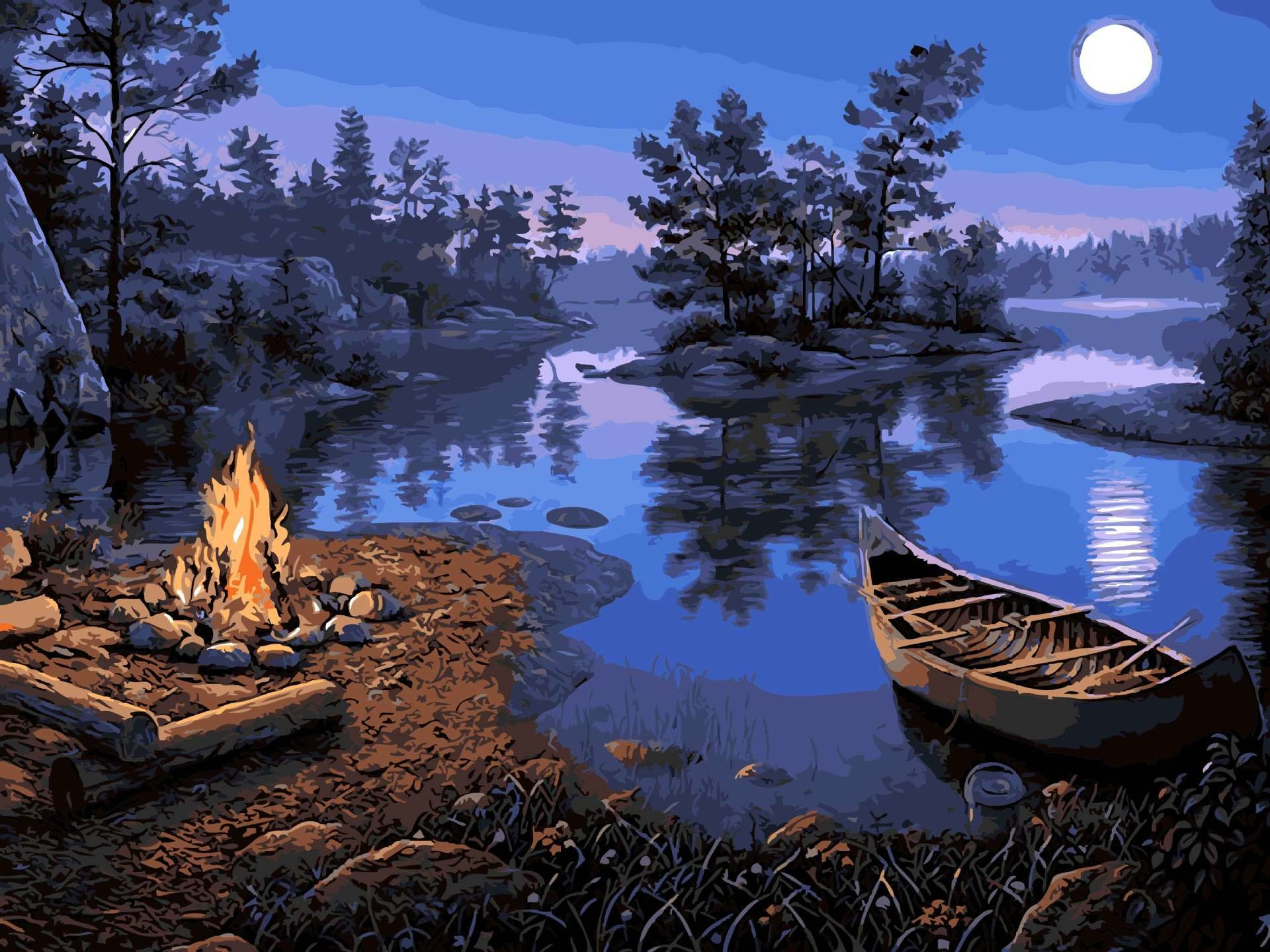 Campfire on Lake DIY Painting