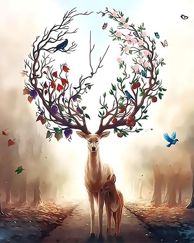 Deer in Flower DIY Painting