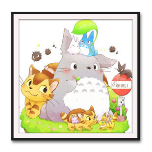 WM2239-02 Totoro Chibi in Spring DIY Dot Painting