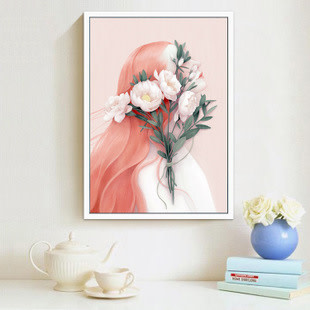 7814-01 Red Hair Girl with Flower DIY Dot Painting