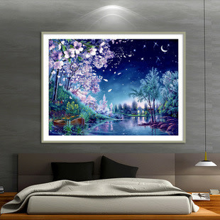 ZT6901-01 Spring Flowers and Boat DIY Dot Painting