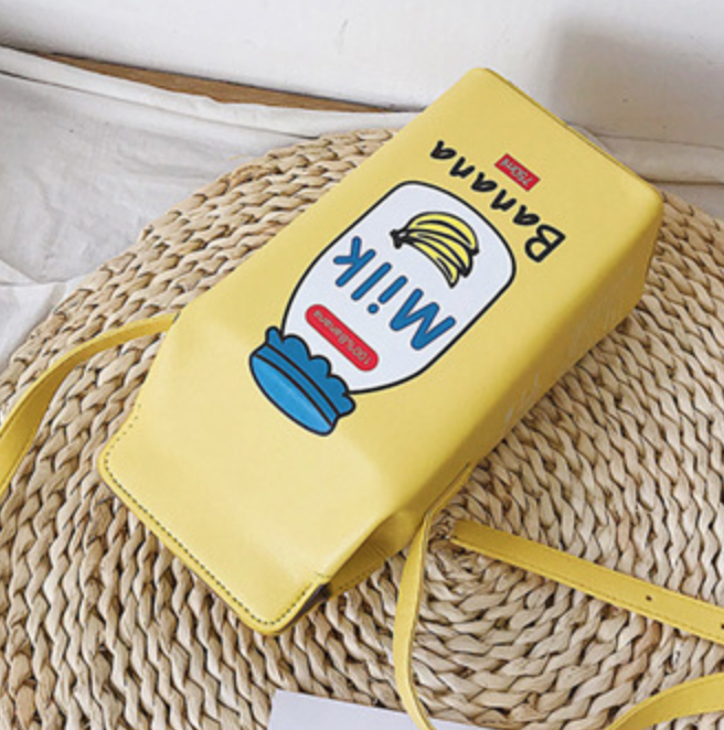 Milk Carton Purse (Yellow, Blue, Brown)