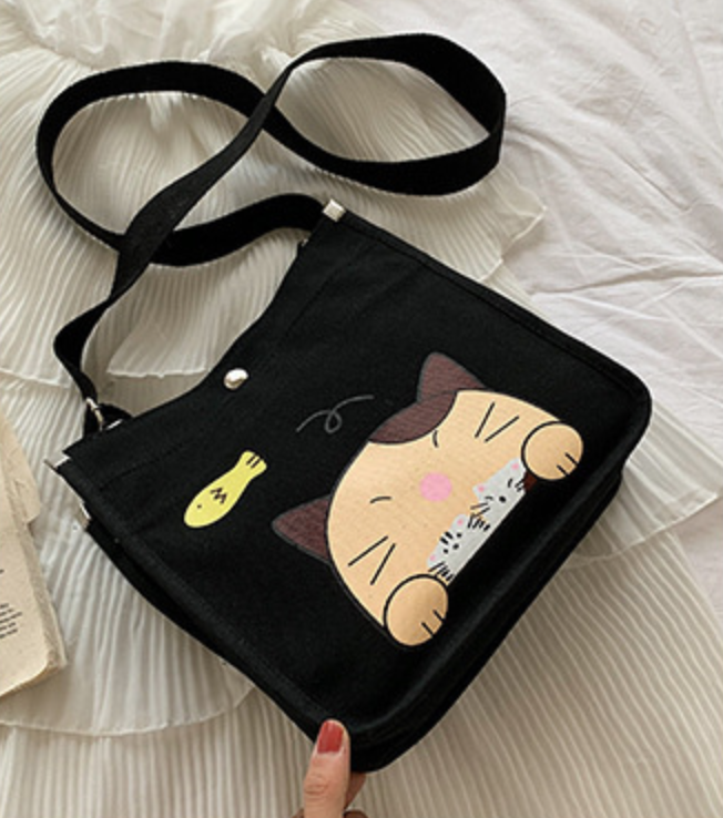 Kitty Canvas Bag with Pencil Case