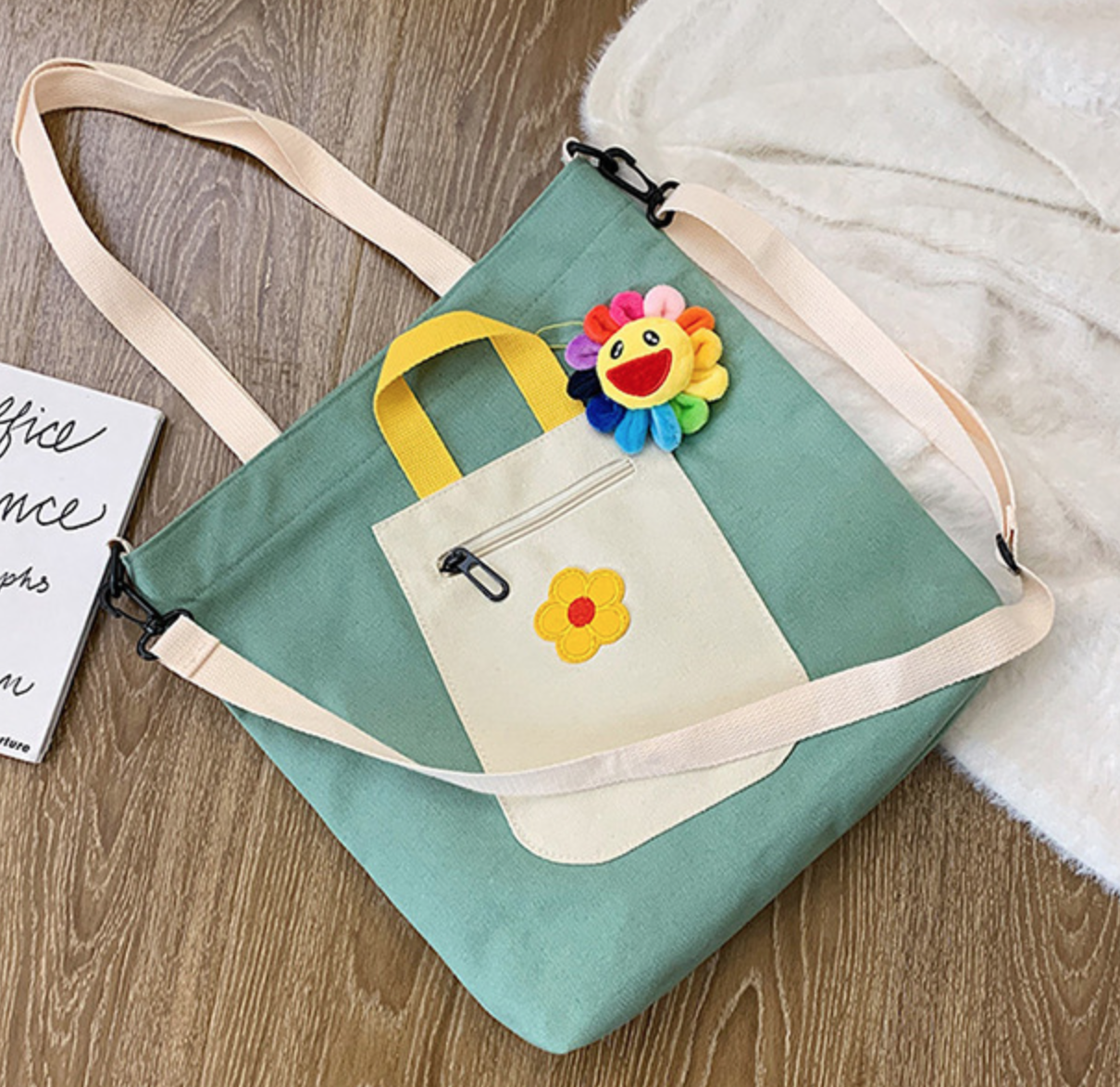 Square Tote Flower Pocket