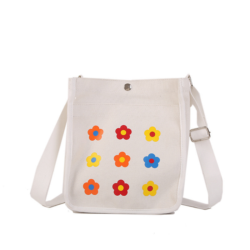 Square Canvas Tote Flowers
