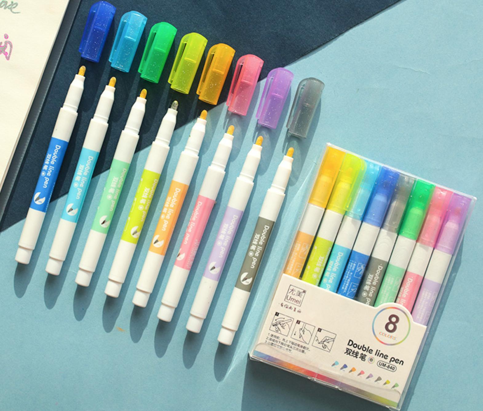 Double Line Metallic Pen Set 8 Set
