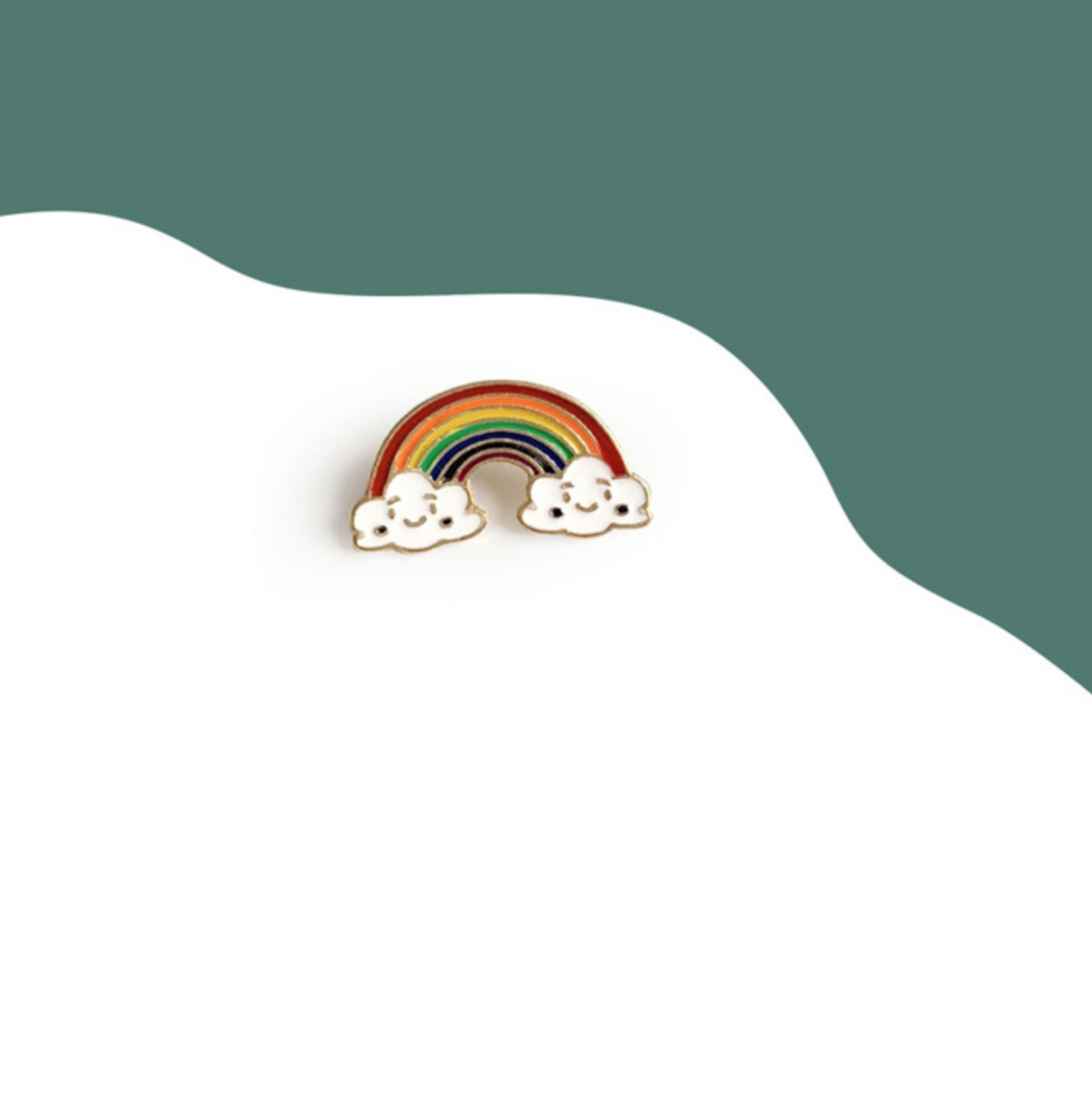 Rainbow with Smiling Clouds Pin