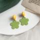 Yellow Button Green Daisy Earring