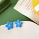 Blue Flower Yellow Center Earring