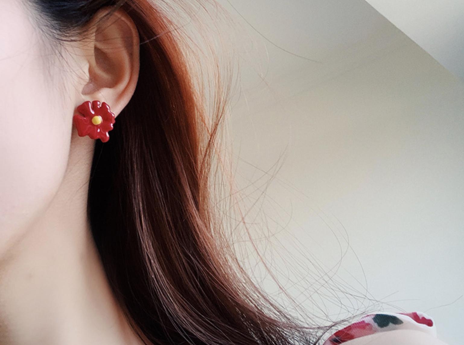 Red Flower Earring