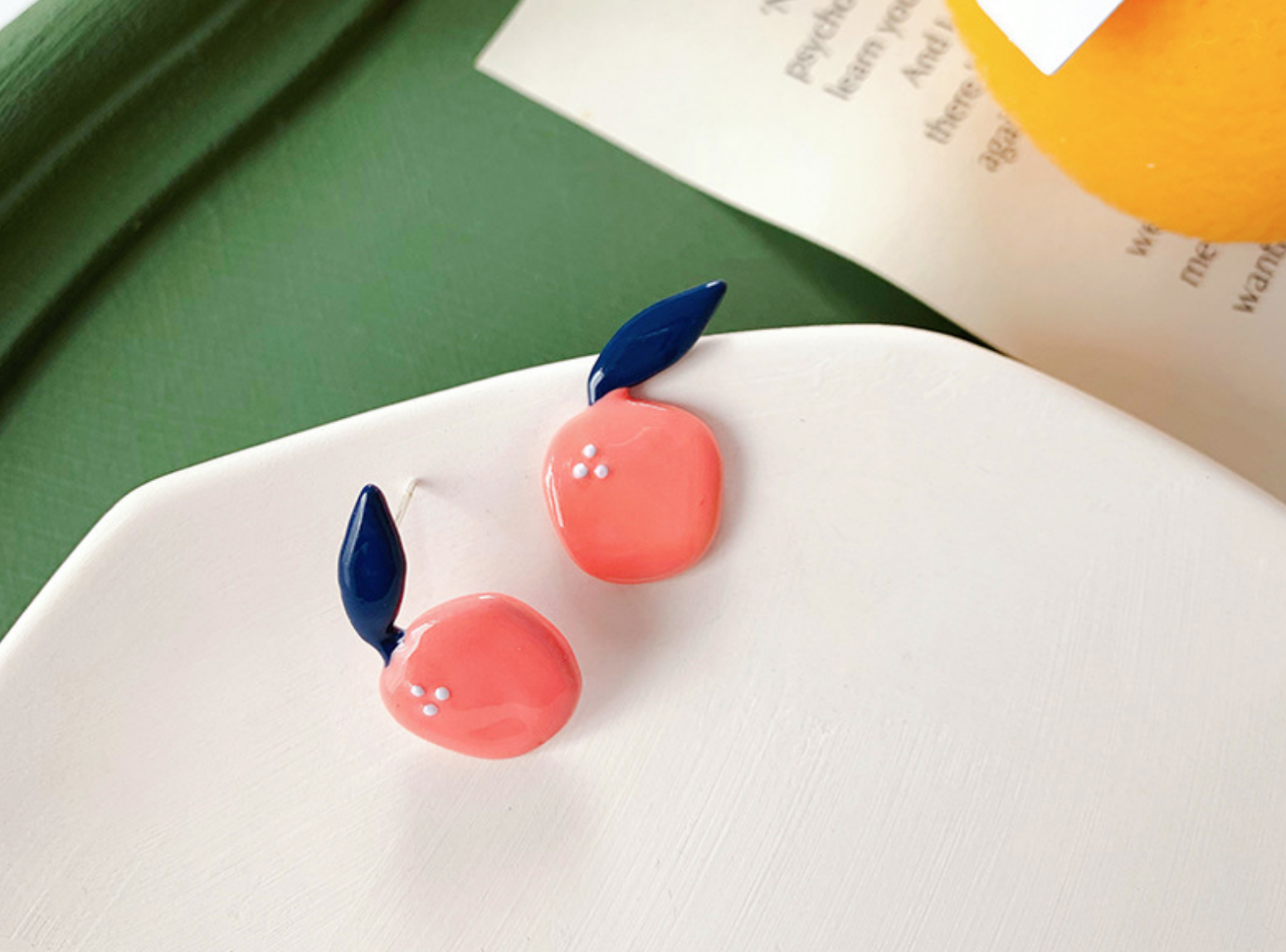 Coral Peach Plant Clip-On Earring