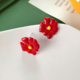 Red Flower Clip-On Earring