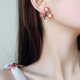 Red Flower Branches Clip-On Earring