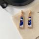 Blue Rectangle Moon Earring
