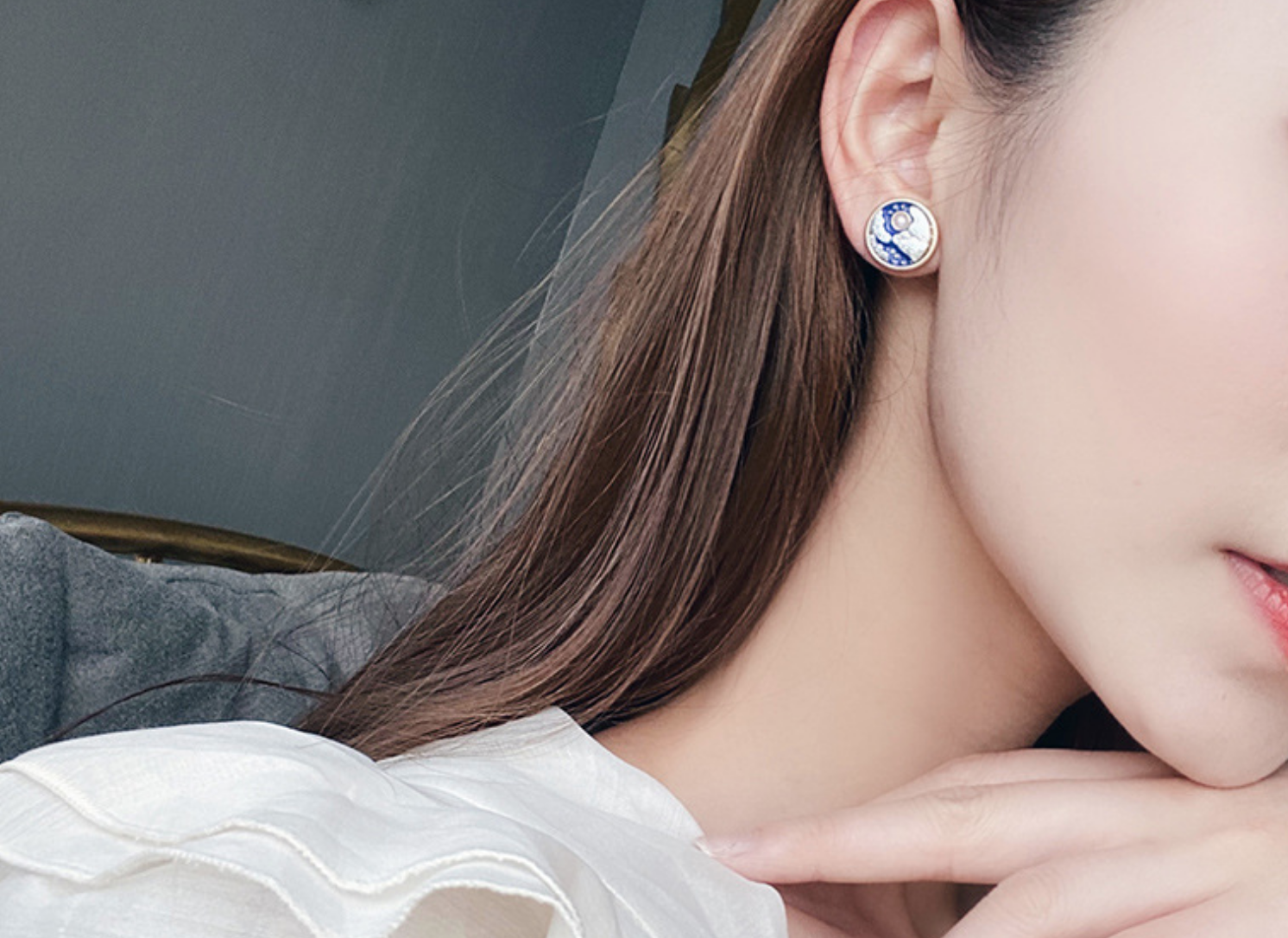 Blue Round Moon Clip On Earring